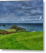 1st Green Cape Cornwall Golf Club Metal Print by Chris Thaxter