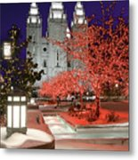 Christmas Lights At Temple Square Metal Print by Utah Images