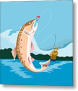 Fly Fisherman Catching Trout Metal Print by Aloysius Patrimonio