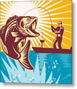 Largemouth Bass Fish And Fly Fisherman Metal Print by Aloysius Patrimonio