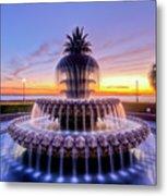Pineapple Fountain Charleston Sc Sunrise Metal Print by Dustin K Ryan