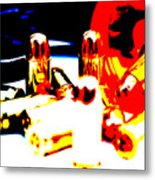 Pop Art Of .45 Cal Bullets Comming Out Of Pill Bottle Metal Print by Michael Ledray