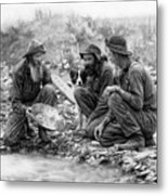 3 Men And A Dog Panning For Gold C. 1889 Metal Print by Daniel Hagerman