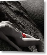 Nude Woman Lying On Rocks By The Water Metal Print by Oleksiy Maksymenko