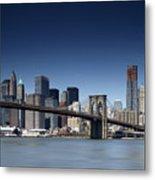 Nyc Brooklyn Bridge Metal Print by Nina Papiorek
