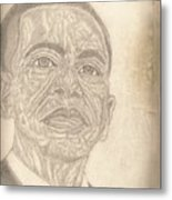44th President Barack Obama By Artist Fontella Moneet Farrar Metal Print by Fontella Farrar