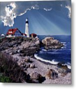 Portland Head Lighthouse Metal Print by Skip Willits