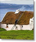 Traditional Thatch Roof Cottage Ireland Metal Print by Pierre Leclerc Photography