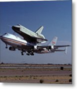 747 Takes Off With Space Shuttle Enterprise For Alt-1 Metal Print by Brian Lockett