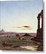 A Bedouin Encampment By A Ruined Temple  Metal Print by Alexandre Gabriel Decamps