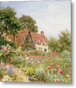 A Cottage Garden Metal Print by Henry Sutton Palmer