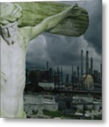 A Crucifixion Statue In A Cemetery Metal Print by Joel Sartore