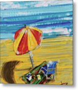 A Day At The Beach Metal Print by Russell Pierce