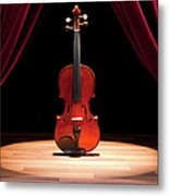 A Double Bass On A Theatre Stage Metal Print by Caspar Benson