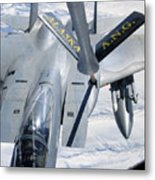 A F-15 Eagle Refuels Behind A Kc-135 Metal Print by Stocktrek Images