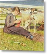 A Girl Knitting Metal Print by Giovanni Segantini