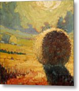 A Hay Bale In The French Countryside Metal Print by Robert Lewis