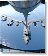 A Kc-135 Stratotanker Refuels A B-52 Metal Print by Stocktrek Images