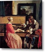 A Man And A Woman Seated By A Virginal Metal Print by Gabriel Metsu