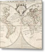A Map Of The World Metal Print by John Senex