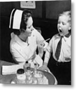 A Nurse Examining The Teeth Of A Boy Metal Print by Everett