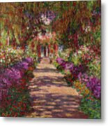 A Pathway In Monets Garden Giverny Metal Print by Claude Monet