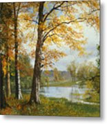 A Quiet Lake Metal Print by Albert Bierstadt