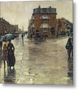 A Rainy Day In Boston Metal Print by Childe Hassam