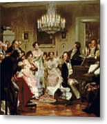 A Schubert Evening In A Vienna Salon Metal Print by Julius Schmid