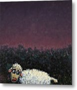 A Sheep In The Dark Metal Print by James W Johnson