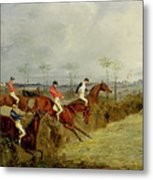 A Steeplechase - Taking A Hedge And Ditch  Metal Print by Henry Thomas Alken