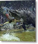 A Suchomimus Snags A Shark From A Lush Metal Print by Walter Myers