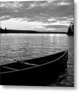 Abandoned Canoe Floating On Water Metal Print by Keith Levit