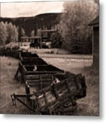 Abandoned Cars And Scattered Nuggets Metal Print by Royce Howland