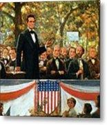 Abraham Lincoln And Stephen A Douglas Debating At Charleston Metal Print by Robert Marshall Root
