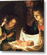 Adoration Of The Baby Metal Print by Gerrit van Honthorst