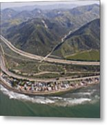 Aerial View Of Highway 1 As It Meets Metal Print by Rich Reid