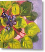 African Violet Still Life Oil Painting Metal Print by Nancy Merkle