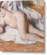 After The Bath Or Reclining Nude Metal Print by Edgar Degas