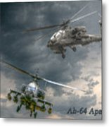 Ah-64 Apache Attack Helicopter In Flight Metal Print by Randy Steele