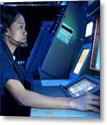 Air Traffic Controller Monitors Marine Metal Print by Stocktrek Images