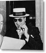 Al Capone, With A Cigar And A Big Metal Print by Everett