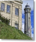 Alcatraz Cell House And Lighthouse Metal Print by Daniel Hagerman