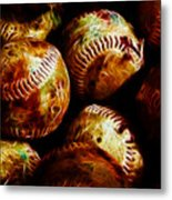 All American Pastime - A Pile Of Fastballs - Electric Art Metal Print by Wingsdomain Art and Photography