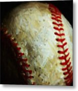 All American Pastime - Baseball - Square - Painterly Metal Print by Wingsdomain Art and Photography