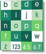 Alphabet Green Metal Print by Michael Tompsett