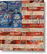 American Flag - Made From Vintage Recycled Pop Culture Usa Paper Product Wrappers Metal Print by Design Turnpike