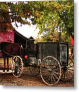 Amish Farm Wagon Metal Print by Terril Heilman