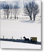 Amish Horse And Buggy In Snowy Landscape Metal Print by Jeremy Woodhouse