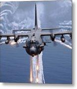 An Ac-130h Gunship Aircraft Jettisons Metal Print by Stocktrek Images
